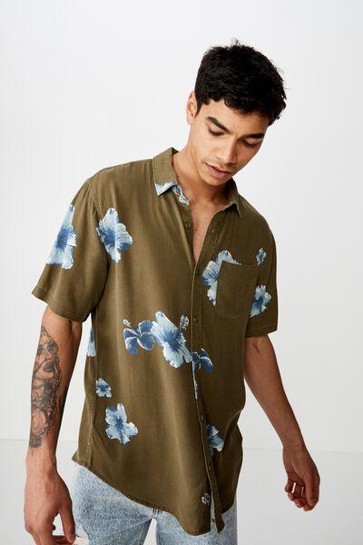 Short Sleeve Resort Shirt, KHAKI OVERSIZED FLORAL