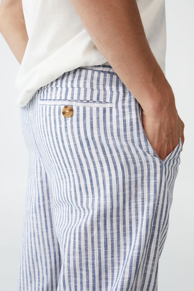 East Coast Textured Pant, NAVY WHITE STRIPED
