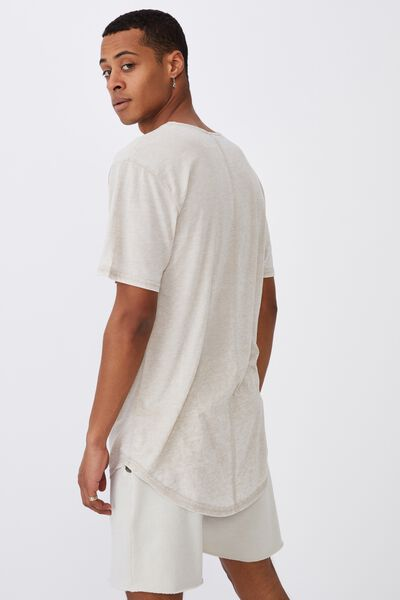 Longline Scoop Burnout T-Shirt, PALE SAND