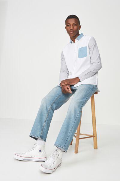 Brunswick Shirt 3, WHITE STRIPED BLOCKED