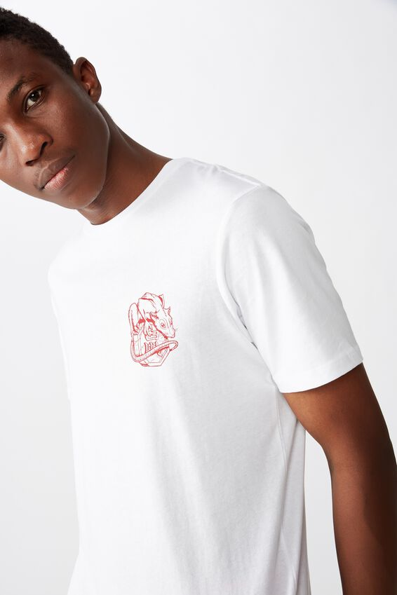 Tbar Cny T-Shirt, WHITE/LUCKY RAT