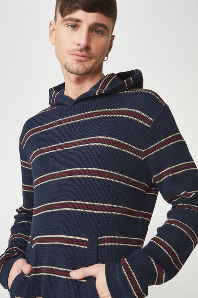 Hooded Waffle Knit, NAVY RED STRIPE