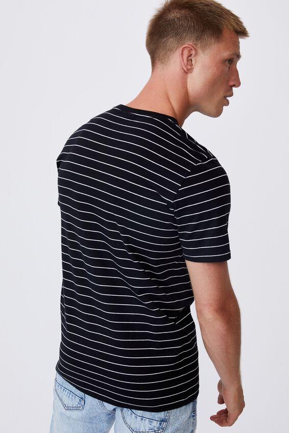 Tbar Premium T-Shirt, BLACK WHITE EASY STRIPE