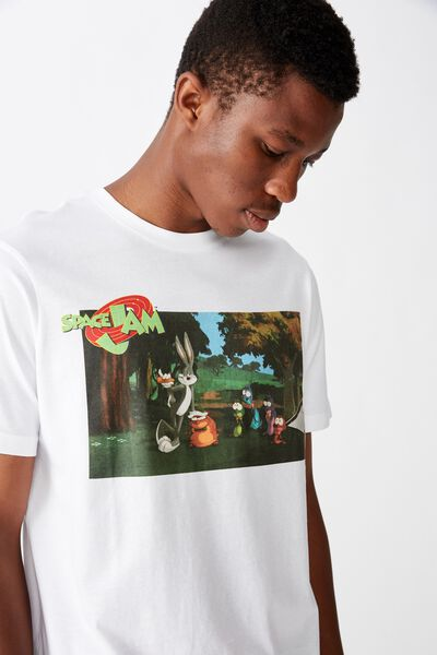 Tbar Collab Movie And Tv T-Shirt, LCN WB WHITE/SPACE JAM - IN THE WOODS