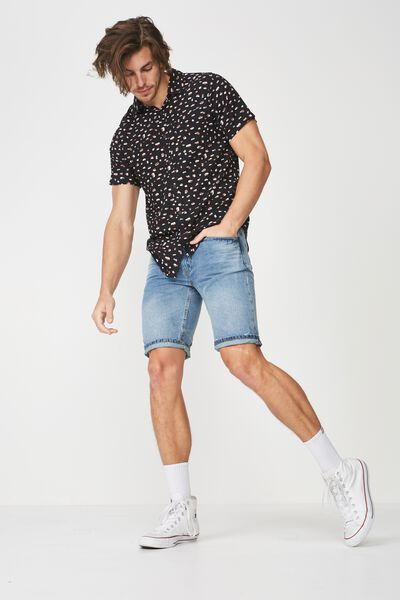 91 Short Sleeve Shirt, BLACK MICRO LEOPARD PRINT