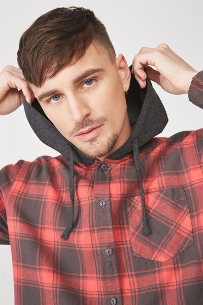 Rugged Hooded Shirt, RED CHECK