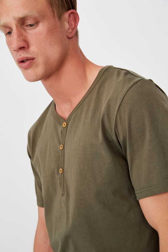 Essential Henley T-Shirt, MILITARY