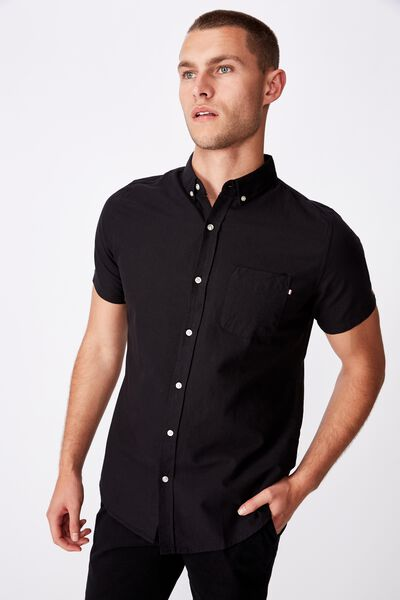 Vintage Prep Short Sleeve Shirt, BLACK OXFORD