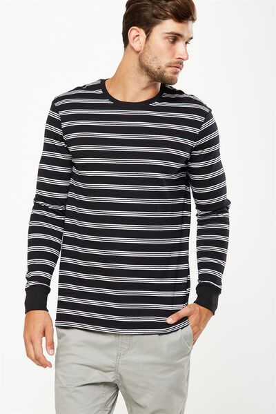 Tbar Long Sleeve, BLACK/WHITE STRIPE