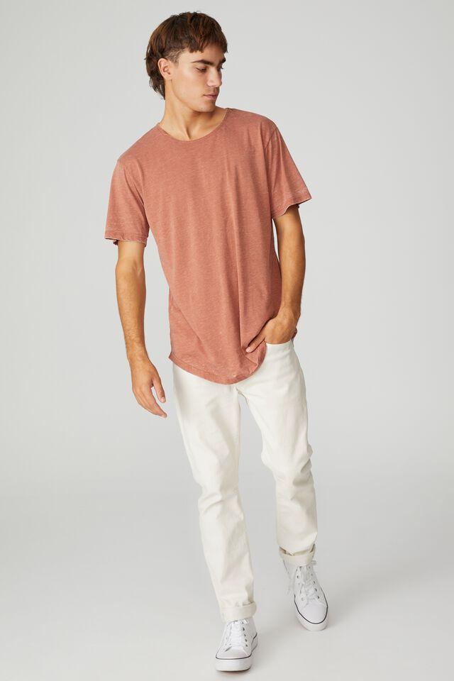 Longline Scoop Burnout T-Shirt, BURNT ALMOND