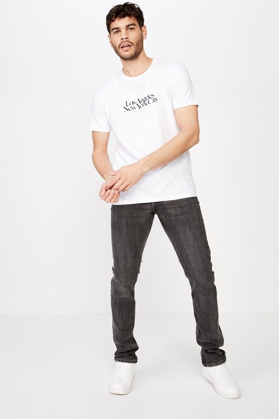 Tbar Text T-Shirt, WHITE/LA NY COLLECTIVE CHAOS