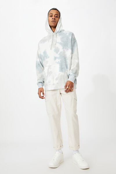 Drop Shoulder Pullover Fleece, SOFT CLOUD TIE DYE
