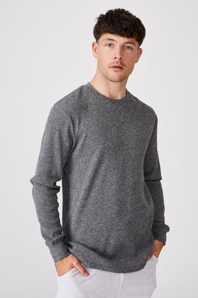 Waffle Long Sleeve T-Shirt, NAVY TWISTED YARN
