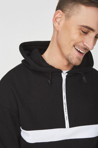 Drop Shoulder Pullover Fleece, BLACK/WHITE/UNTITLED NO 7
