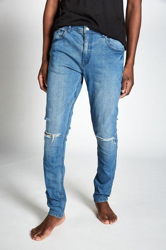 Super Skinny Jean, LAUNDRY BLUE RIPS