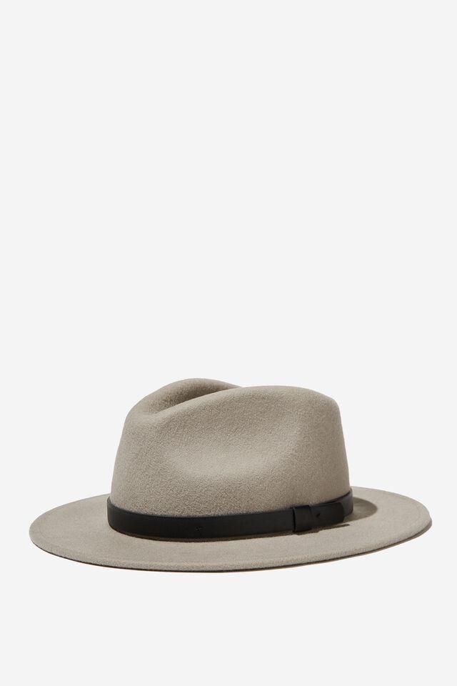 Wide Brim Felt Hat, LIGHT GREY/BLACK