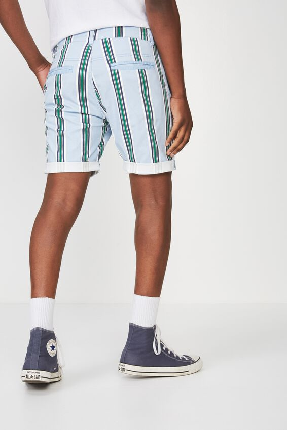 Washed Chino Short, BLUE/GREEN/NAVY STRIPE