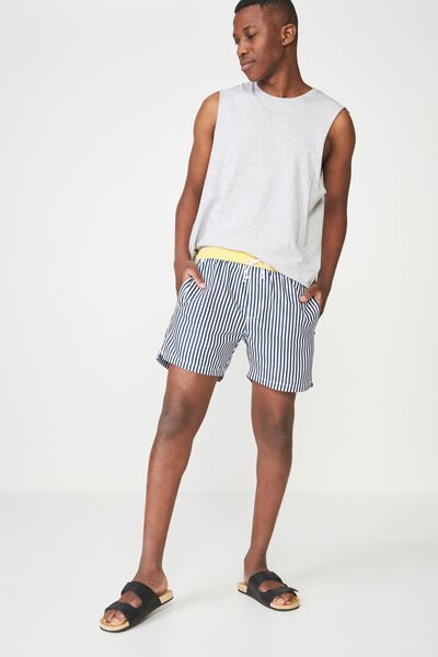 Swim Short, NAVY WHITE STRIPE/YELLOW TIP