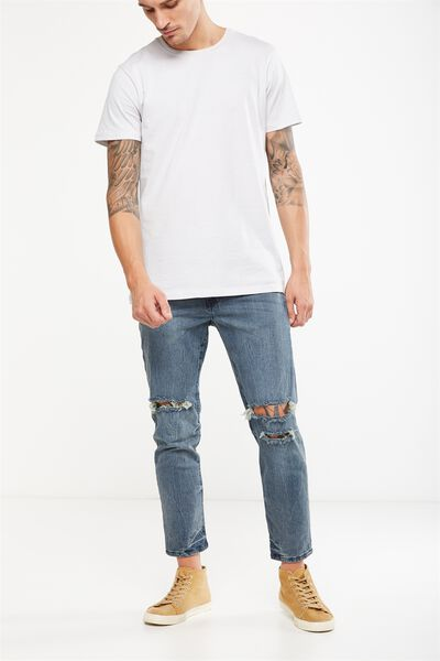 Slim Fit Jean, FRACTURE BLUE CROP + RIPS