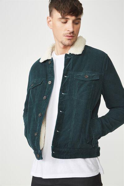 Borg Denim Jacket, BOTTLE GREEN