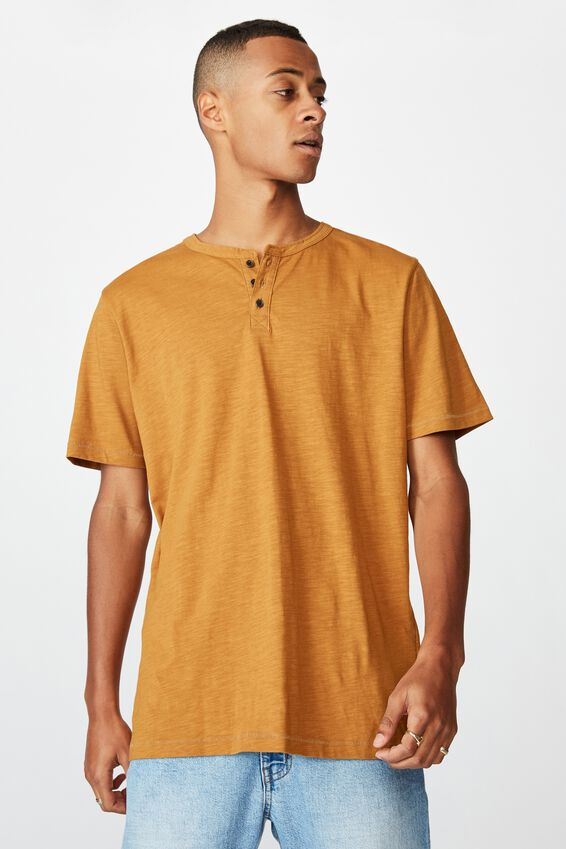 Slub Henley T-Shirt, RICH CAMEL