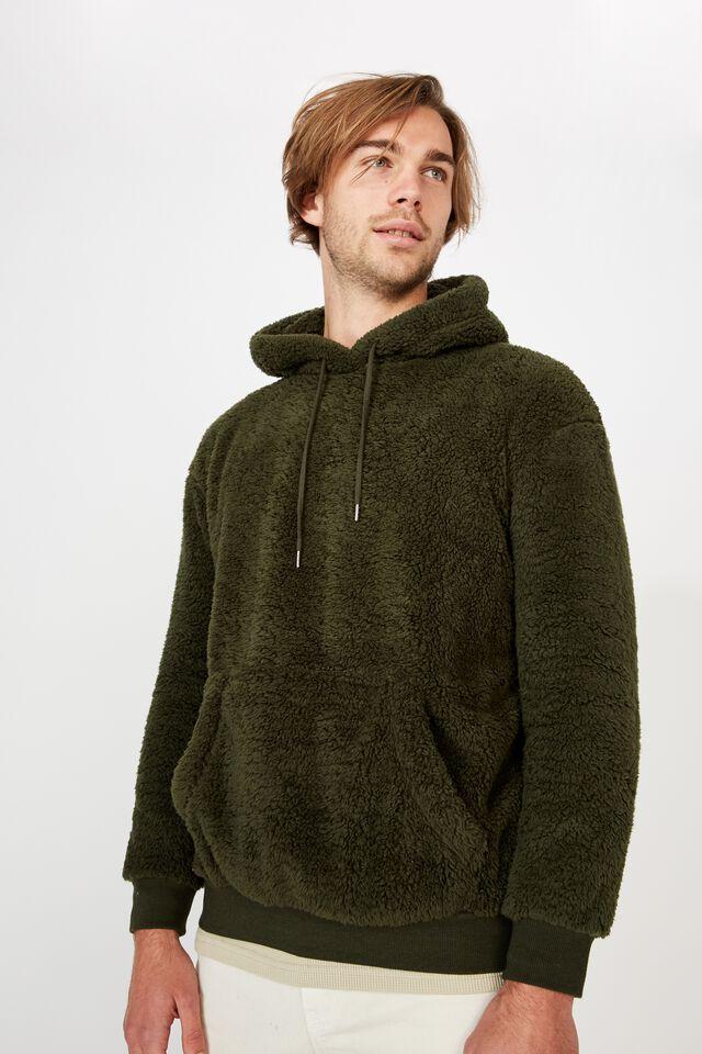 Drop Shoulder Teddy Fleece Hood, DUFFLE GREEN