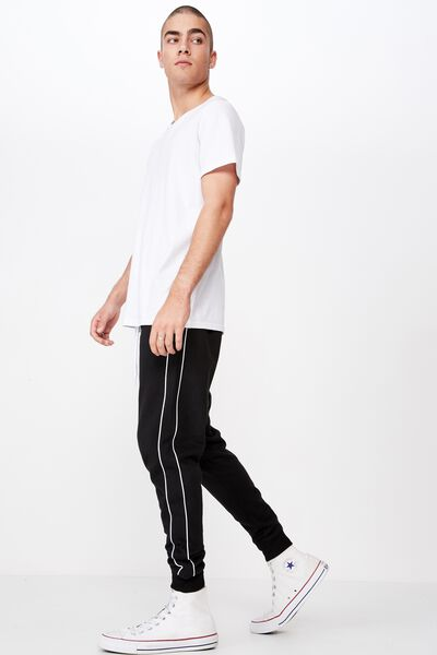 Trippy Slim Trackie, BLACK / PIPING