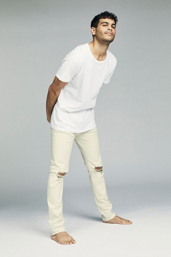 Slim Fit Jean, OFF WHITE RIPPED