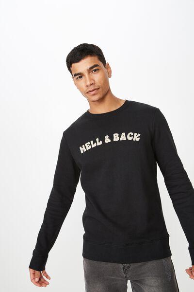 Crew Fleece 2, BLACK/HELL AND BACK