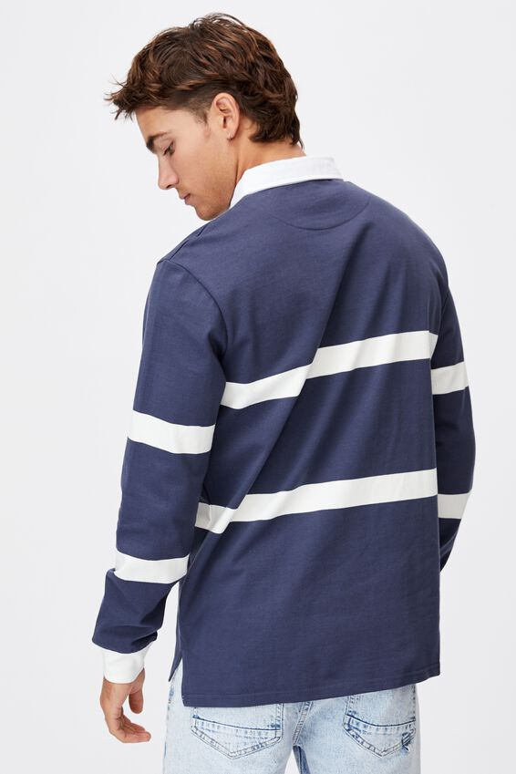 Rugby Long Sleeve Polo, NAVY WHITE PANEL STRIPE