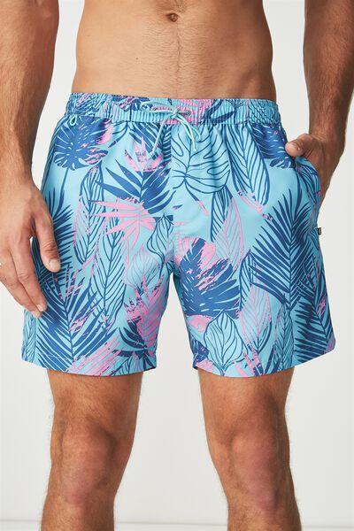 Swim Short, BLUE LEAVES