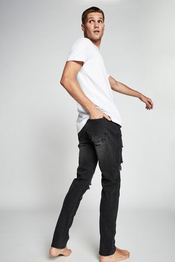Slim Fit Jean, RAVEN  BLACK + RIPS