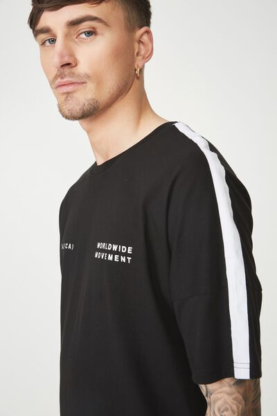 Drop Shoulder Longline, BLACK/WORLDWIDE MOVEMENT