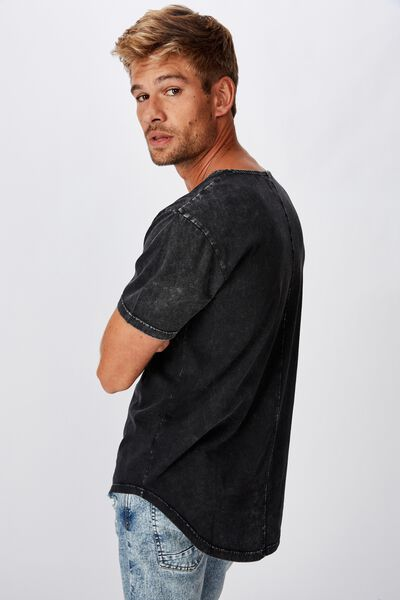 Longline Scoop Burnout T-Shirt, WASHED BLACK ACID