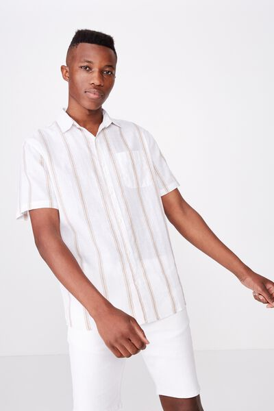Premium Linen Cotton Short Sleeve Shirt, WHITE TAN SPACE STRIPE