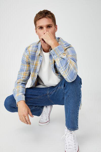 Washed Long Sleeve Check Shirt, MID BLUE GOLD CHECK