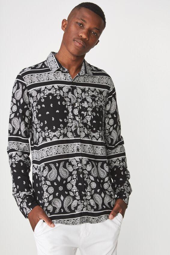 91 Shirt, BLACK PAISLEY