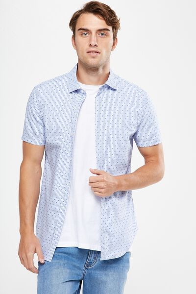 Short Sleeve Slim Smart Shirt, SKY STRIPE DOBBY