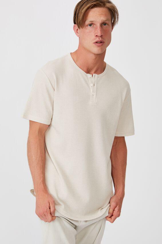 Longline Scoop Henley Waffle T-Shirt, BONE
