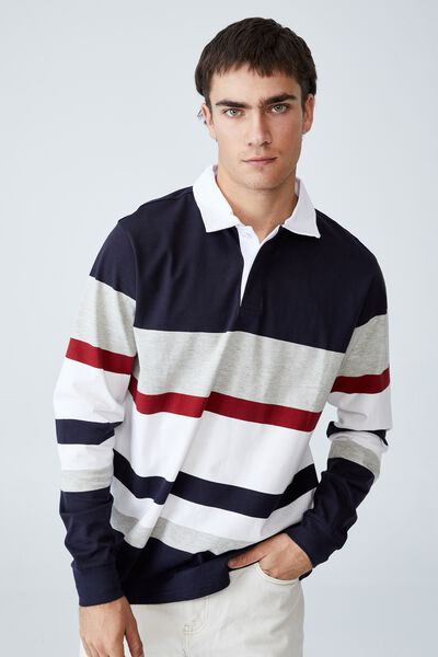 Rugby Long Sleeve Polo, NAVY RED PANEL
