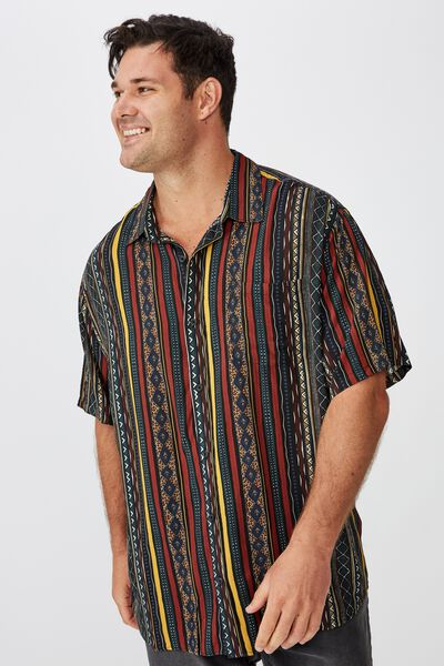 91 Short Sleeve Shirt, MULTI COLOR VERTICAL TRIBAL