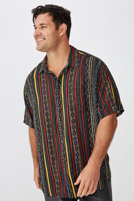 91 Short Sleeve Shirt, MULTI COLOR VERTICAL TRIBAL
