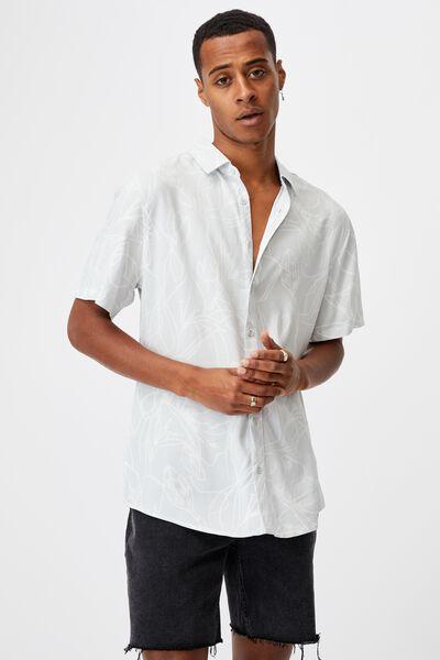 Short Sleeve Resort Shirt, GREY FLORAL LINES
