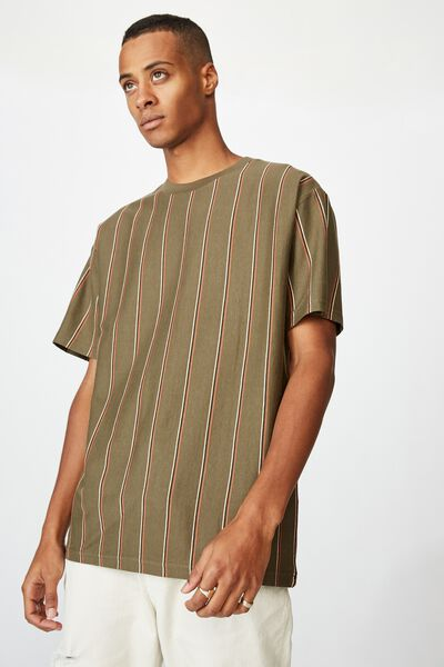 Downtown Loose Fit Tee, WASHED KHAKI TRIPLE STRIPE