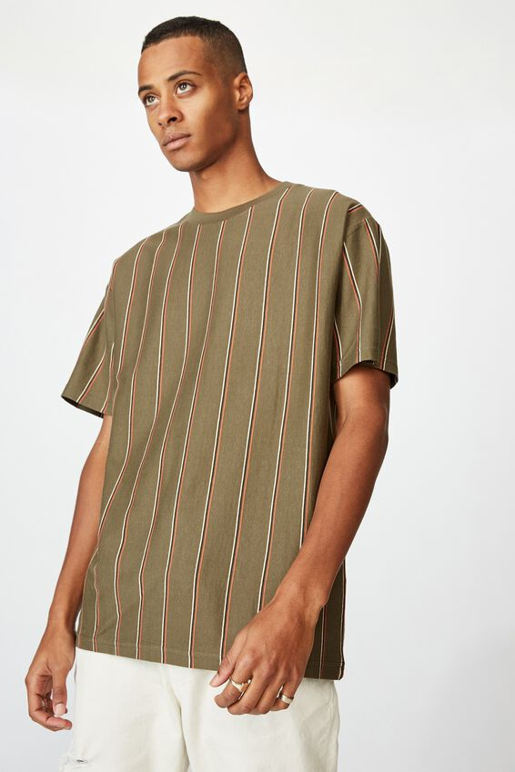 Downtown T-Shirt, WASHED KHAKI TRIPLE STRIPE