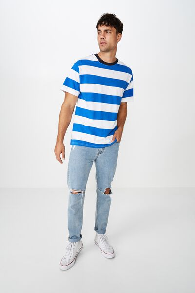 Downtown Loose Fit Tee, ELECTRIC BLUE/VINTAGE WHITE STRIPE
