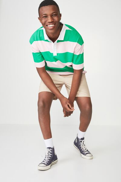 Oversized Short Sleeve Polo, GREEN PINK BOLD STRIPE