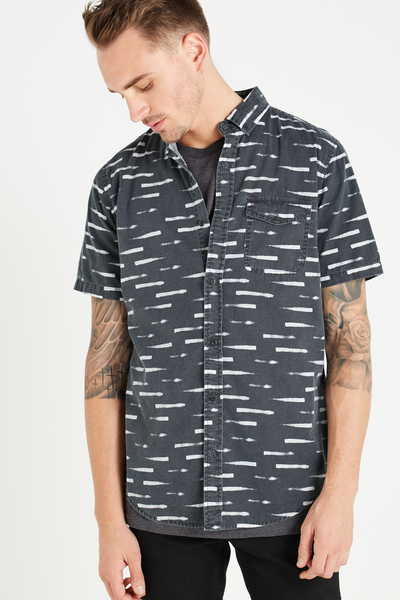 Easy Washed Short Sleeve Shirt, BLACK STROKE PRINT