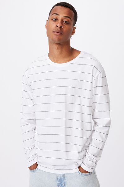 Brunswick Stripe Long Sleeve T-Shirt, WHITE/BLACK SPACED STRIPE