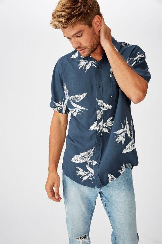 Short Sleeve Resort Shirt, NAVY BIRD OF PARADISE